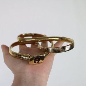 Etienne Aigner gold toned stretch waist belt